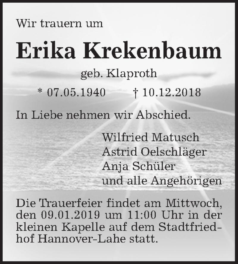 Traueranzeige für Erika Krekenbaum vom 05.01.2019 aus Hannoversche Allgemeine Zeitung/Neue Presse
