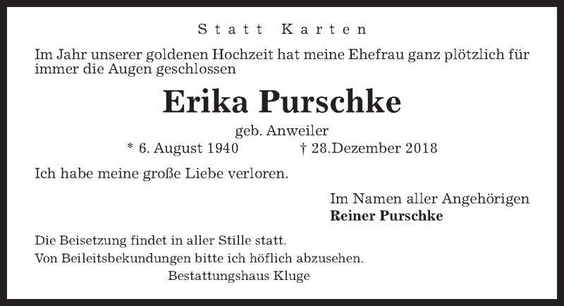 Traueranzeige für Erika Purschke vom 05.01.2019 aus Hannoversche Allgemeine Zeitung/Neue Presse