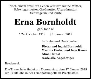 Traueranzeige für Erna Bornholdt vom 12.01.2019 aus Kieler Nachrichten