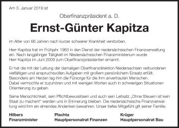 Traueranzeige für Ernst-Günter Kapitza vom 10.01.2019 aus Hannoversche Allgemeine Zeitung/Neue Presse