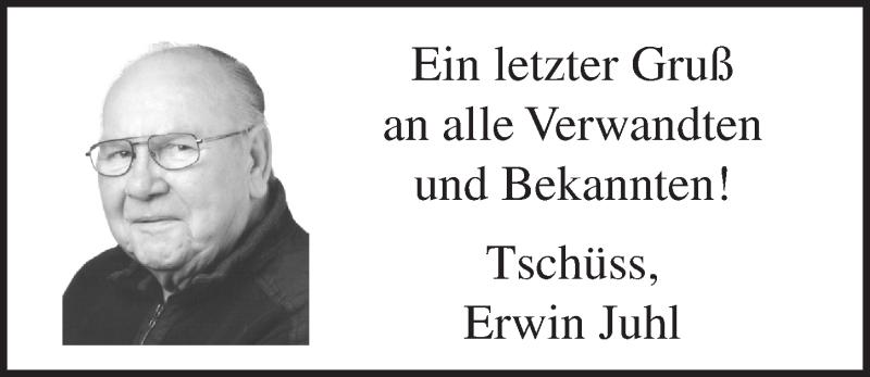Traueranzeige von  Erwin Juhl
