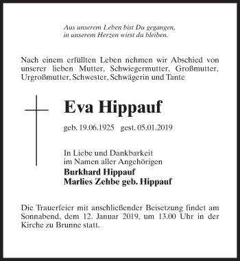 Traueranzeige für Eva Hippauf vom 08.01.2019 aus Märkischen Allgemeine Zeitung