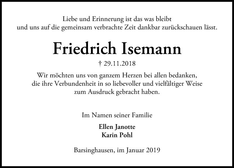 Traueranzeige von  Friedrich Isemann