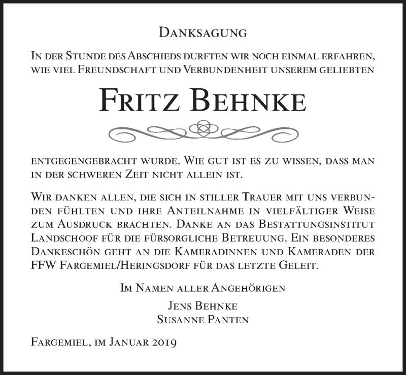 Traueranzeige für Fritz Behnke vom 09.01.2019 aus Lübecker Nachrichten