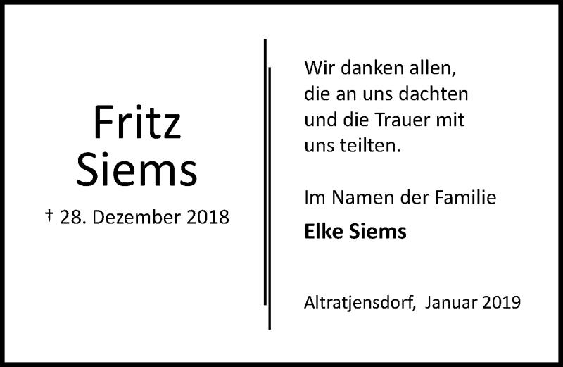 Traueranzeige für Fritz Siems vom 26.01.2019 aus Lübecker Nachrichten