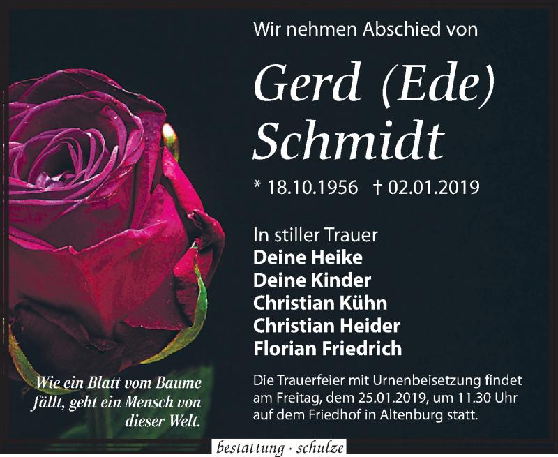 Traueranzeige von  Gerd Schmidt