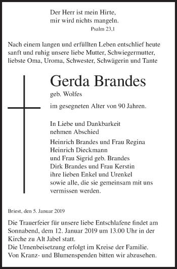 Traueranzeige für Gerda Brandes vom 09.01.2019 aus Hannoversche Allgemeine Zeitung/Neue Presse