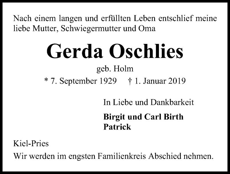 Traueranzeige für Gerda Oschlies vom 05.01.2019 aus Kieler Nachrichten