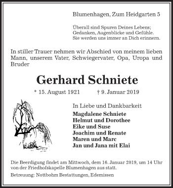 Traueranzeige für Gerhard Schniete vom 11.01.2019 aus Peiner Allgemeine Zeitung
