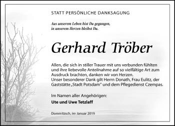 Traueranzeige für Gerhard Tröber vom 12.01.2019 aus Torgauer Zeitung