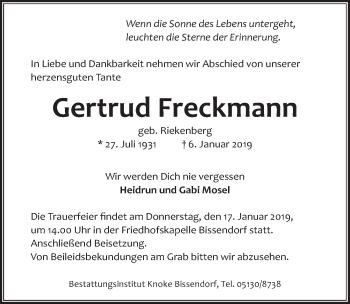Traueranzeige für Gertrud Freckmann vom 12.01.2019 aus Hannoversche Allgemeine Zeitung/Neue Presse