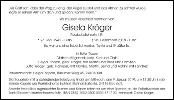 Traueranzeige für Gisela Kröger vom 05.01.2019 aus Lübecker Nachrichten