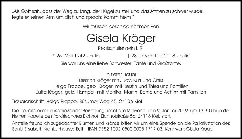 Traueranzeige von  Gisela Kröger