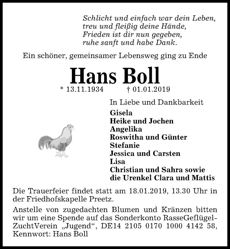 Traueranzeige für Hans Boll vom 05.01.2019 aus Kieler Nachrichten
