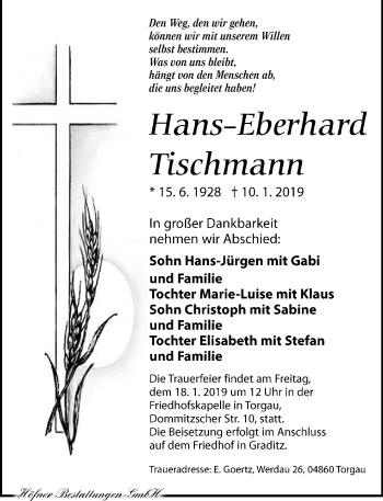 Traueranzeige für Hans-Eberhard Tischmann vom 12.01.2019 aus Torgauer Zeitung
