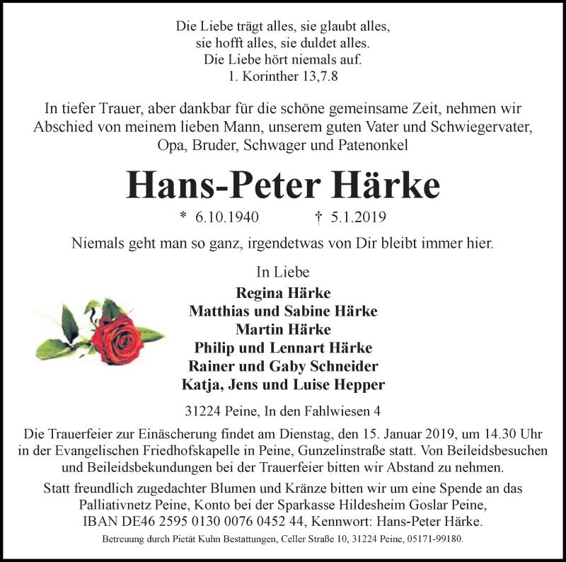 Traueranzeige für Hans-Peter Härke vom 09.01.2019 aus Peiner Allgemeine Zeitung