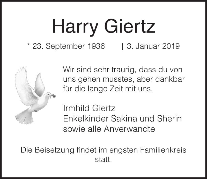 Traueranzeige von  Harry Giertz