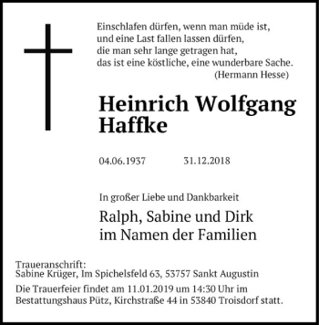 Traueranzeige für Heinrich Wolfgang Haffke vom 05.01.2019 aus Kieler Nachrichten