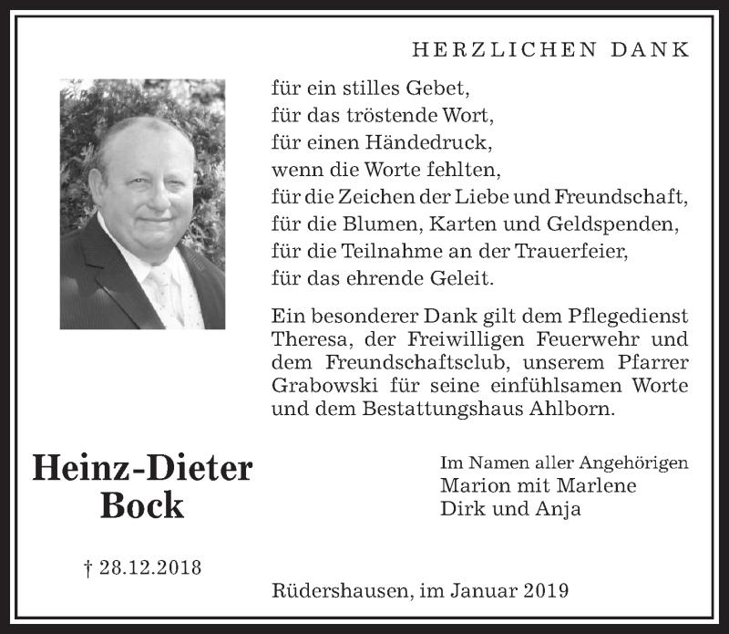 Traueranzeige für Heinz-Dieter Bock vom 12.01.2019 aus Eichsfelder Tageblatt