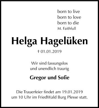 Traueranzeige für Helga Hagelüken vom 12.01.2019 aus Göttinger Tageblatt