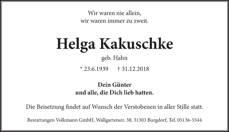 Traueranzeige von  Helga Kakuschke