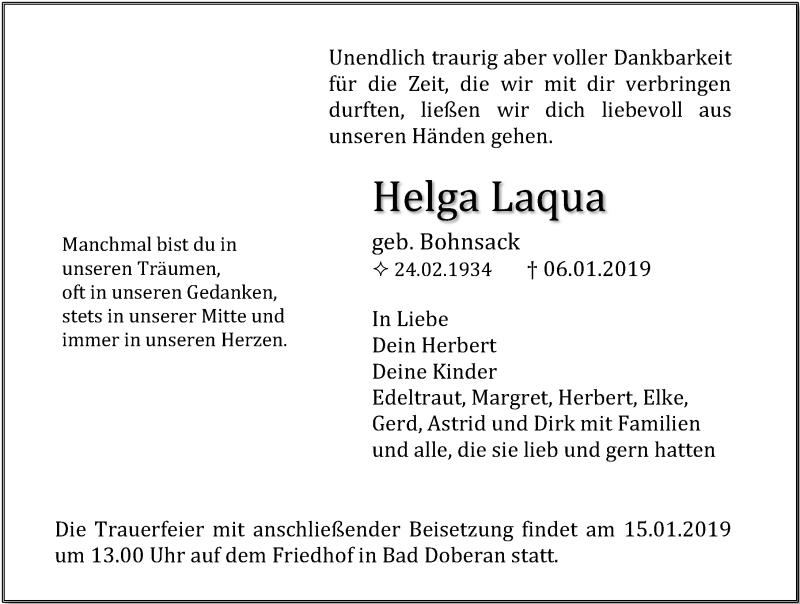 Traueranzeige für Helga Laqua vom 12.01.2019 aus Ostsee-Zeitung GmbH