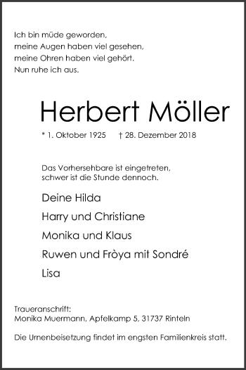 Traueranzeige für Herbert Möller vom 05.01.2019 aus Schaumburger Nachrichten