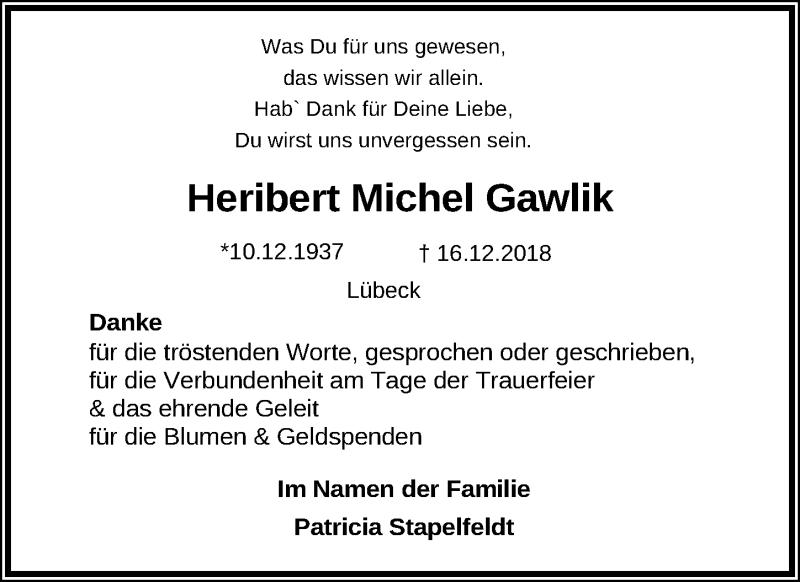 Traueranzeige von  Heribert Michel Gawlik