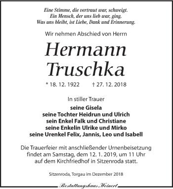 Traueranzeige für Hermann Truschka vom 29.12.2018 aus Torgauer Zeitung