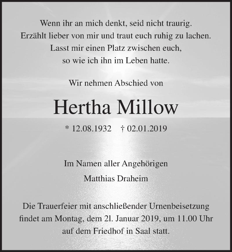 Traueranzeige von  Hertha Millow