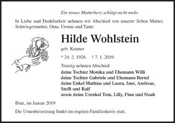 Traueranzeige für Hilde Wohlstein vom 12.01.2019 aus Ostsee-Zeitung GmbH