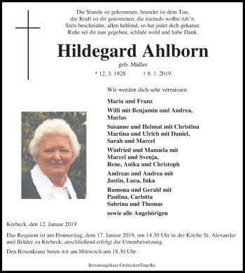 Traueranzeige für Hildegard Ahlborn vom 12.01.2019 aus Eichsfelder Tageblatt