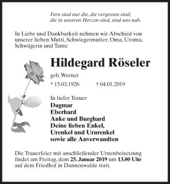 Traueranzeige für Hildegard Röseler vom 12.01.2019 aus Märkischen Allgemeine Zeitung