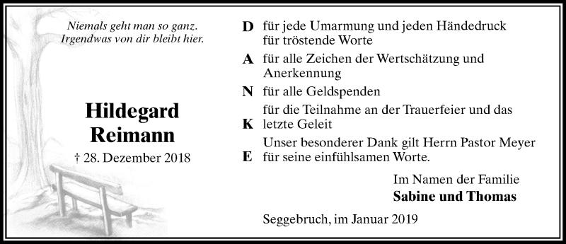 Traueranzeige für Hildegard Reimann vom 26.01.2019 aus