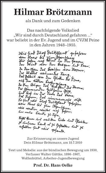 Traueranzeige für Hilmar Brötzmann vom 10.01.2019 aus Peiner Allgemeine Zeitung