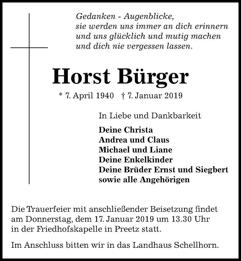 Traueranzeige für Horst Bürger vom 12.01.2019 aus Kieler Nachrichten