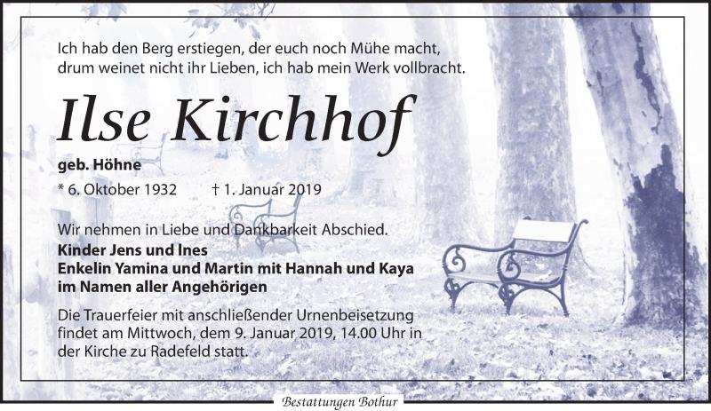 Traueranzeige von  Ilse Kirchhof