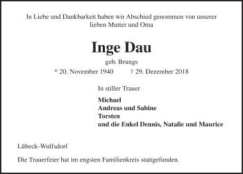 Traueranzeige für Inge Dau vom 06.01.2019 aus Lübecker Nachrichten