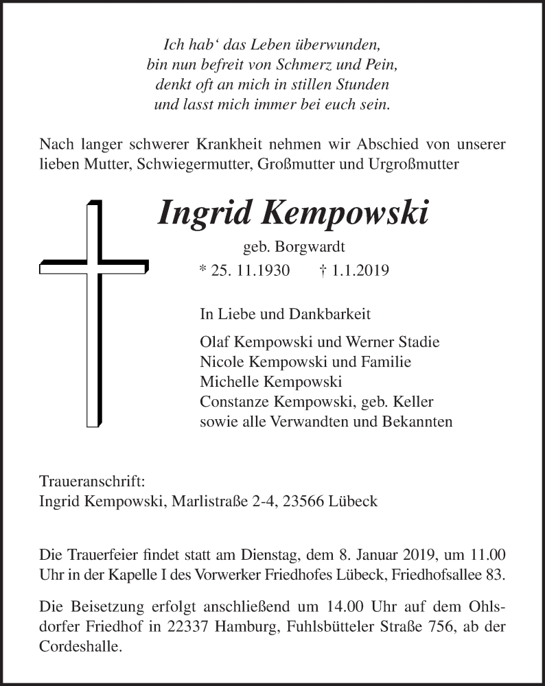 Traueranzeige von  Ingrid Kempowski
