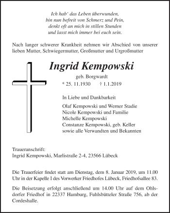 Traueranzeige für Ingrid Kempowski vom 06.01.2019 aus Lübecker Nachrichten