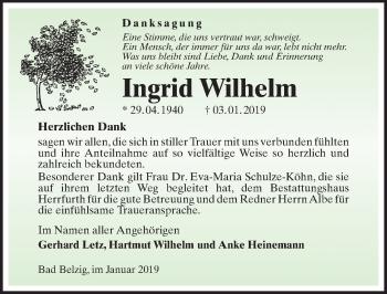 Traueranzeige für Ingrid Wilhelm vom 17.01.2019 aus Märkischen Allgemeine Zeitung