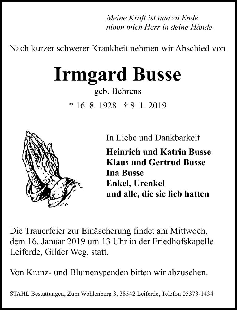 Traueranzeige für Irmgard Busse vom 11.01.2019 aus Aller Zeitung