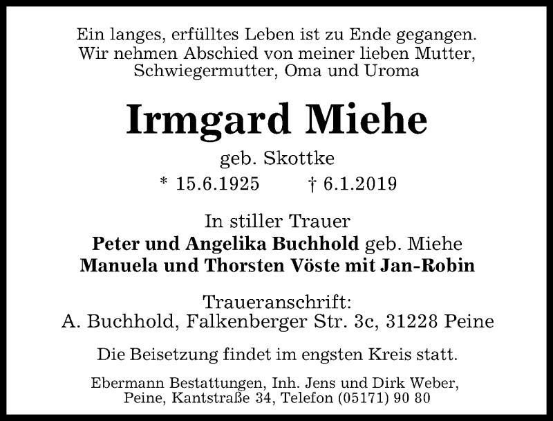 Traueranzeige für Irmgard Miehe vom 09.01.2019 aus Peiner Allgemeine Zeitung