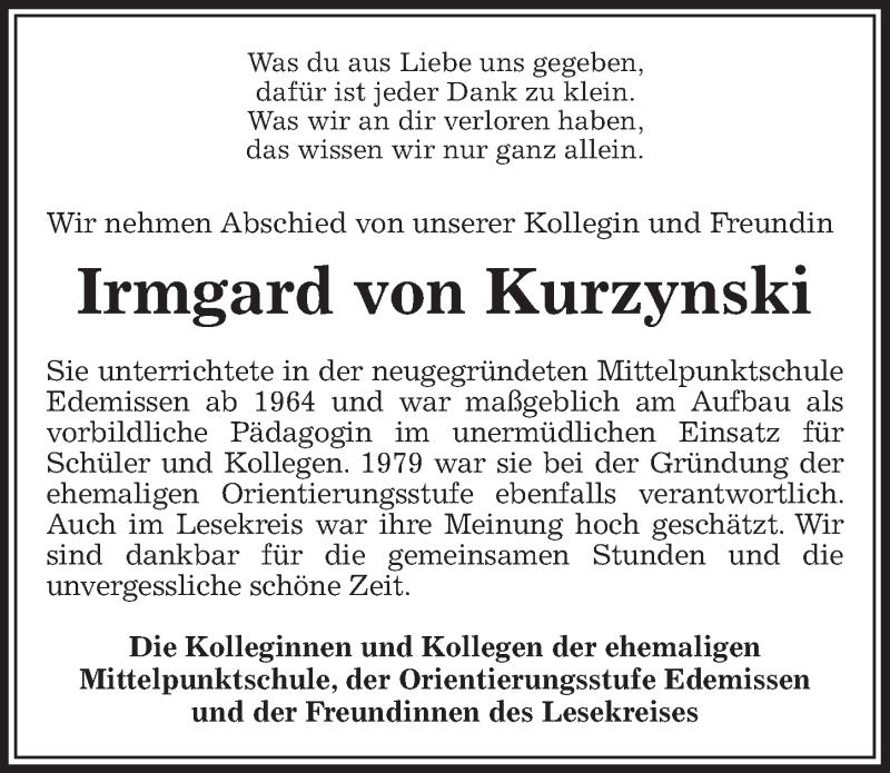 Traueranzeige für Irmgard von Kurzynski vom 16.01.2019 aus Peiner Allgemeine Zeitung