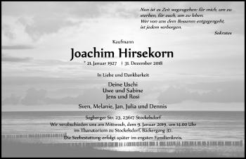 Traueranzeige für Joachim Hirsekorn vom 06.01.2019 aus Lübecker Nachrichten