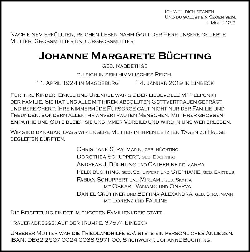 Traueranzeige für Johanne Margarete Büchting vom 08.01.2019 aus Göttinger Tageblatt