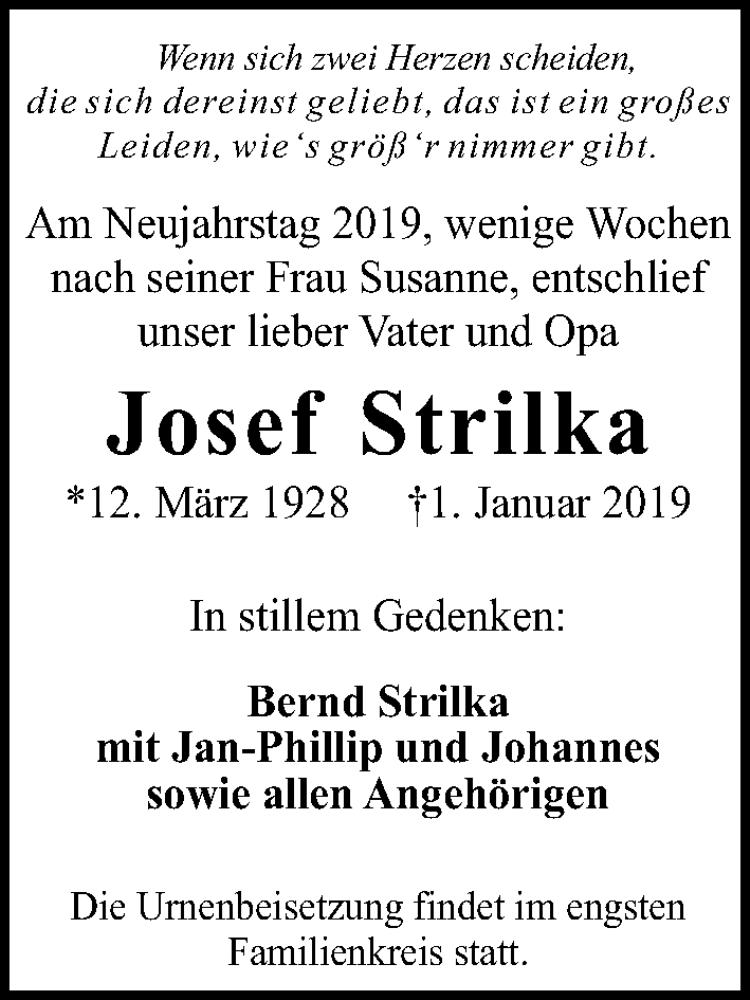 Traueranzeige für Josef Strilka vom 05.01.2019 aus Hannoversche Allgemeine Zeitung/Neue Presse