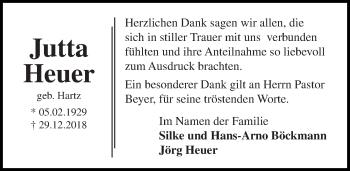 Traueranzeige für Jutta Heuer vom 20.01.2019 aus Lübecker Nachrichten