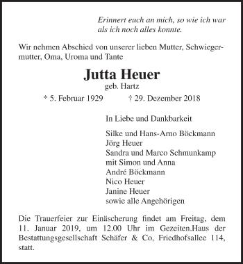 Traueranzeige für Jutta Heuer vom 06.01.2019 aus Lübecker Nachrichten