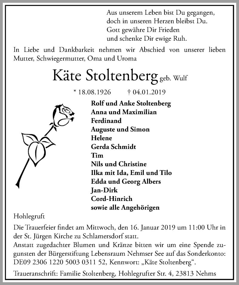 Traueranzeige für Käte Stoltenberg vom 09.01.2019 aus Kieler Nachrichten